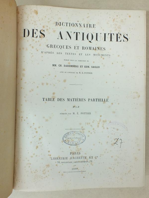 Daremberg Charles Saglio Edmond Sellier P Dictionnaire Des