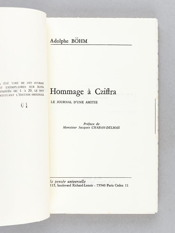Fabuleux BOHM, Adolphe ; CHABAN DELMAS, Jacques Hommage à Cziffra. Le  ML35
