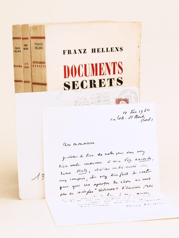 Hellens Franz Lot De 3 Livres Dedicaces Par L Auteur Auxquels On Joint Un Belle