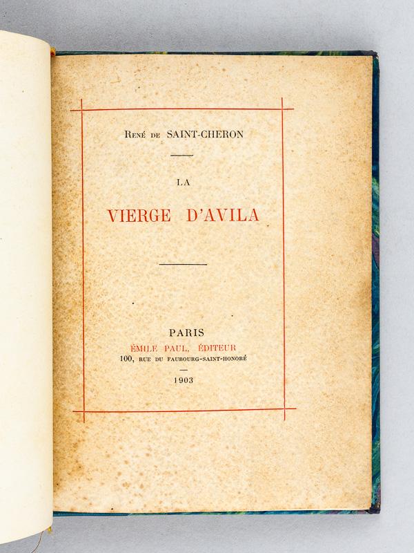 Saint Cheron Rene De La Vierge D Avila Edition Originale Livre Dedicace Par