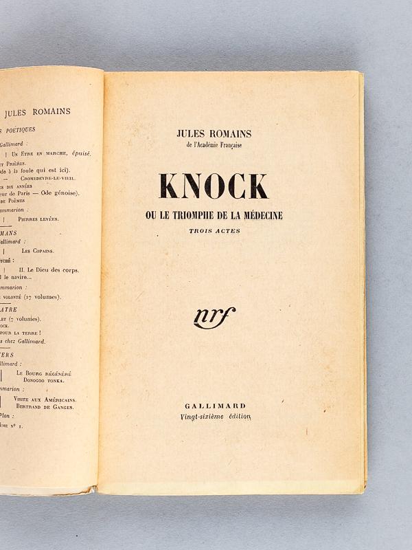 Romains Jules Knock Ou Le Triomphe De La Medecine Livre Dedicace Par L Auteur